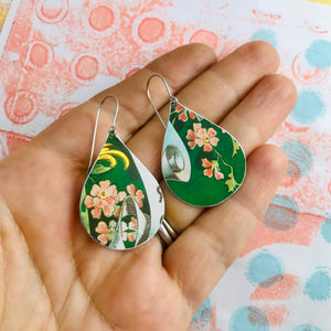 Pink Flowers on Green Upcycled Teardrop Tin Earrings