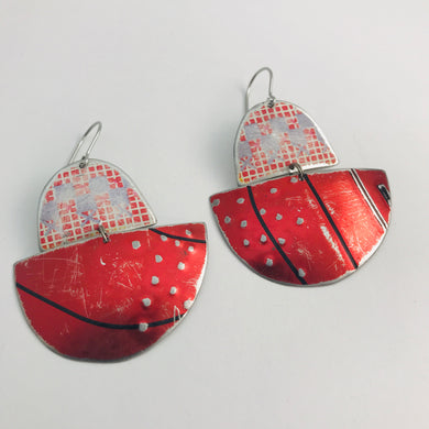 Mixed Reds Little Boats Upcycled Tin Earrings