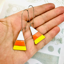 Load image into Gallery viewer, Candy Corn Halloween Upcycled Tin Earrings