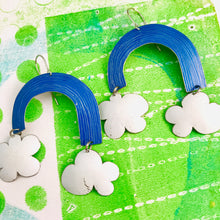 Load image into Gallery viewer, True Blue Etched Rainbows with Puffy Clouds Upcycled Tin Earrings
