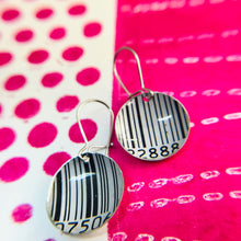 Load image into Gallery viewer, Black & White Barcode Tiny Dot Upcycled Tin Earrings