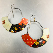 Load image into Gallery viewer, Orange Patchwork Half Moon Recycled Tin Earrings