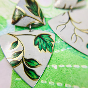 Green Leaves Tourmaline Zero Waste Tin Earrings Ethical Jewelry