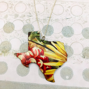Wildflower Texas Recycled Tin Necklace