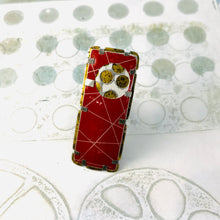 Load image into Gallery viewer, Encircled Weathered Red Over White Upcycled Tin Brooch