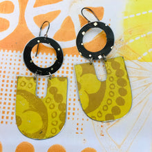 Load image into Gallery viewer, Big Mustard Chunky Horseshoes Zero Waste Tin Earrings