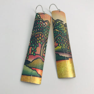 Golden River's Edge Rectangle Tin Earrings