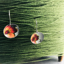 Load image into Gallery viewer, Vintage Dark Orange-y Flowers Upcycled Tiny Basin Earrings