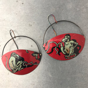 Jumproping Monkeys Upcycled Tin Earrings by Christine Terrell for adaptive reuse jewelry