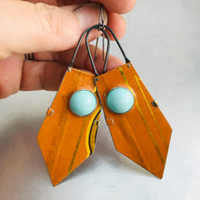 Load image into Gallery viewer, Orange Dreamsicle and Aqua Zero Waste Tin Earrings