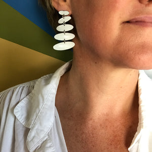 Bright White Oval Cairns Upcycled Tin Post Earrings