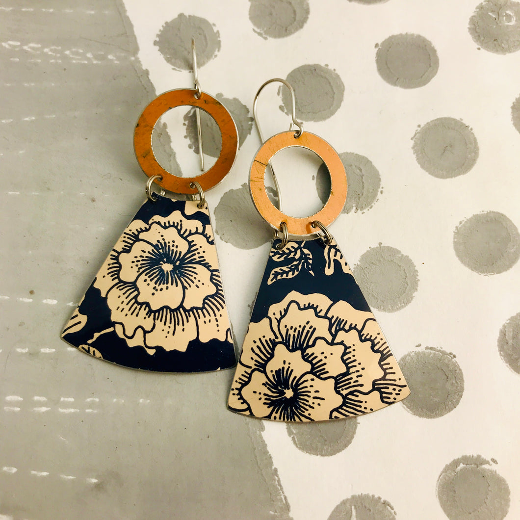 Midnight Blue & Ecru Big Blossoms Small Fans Tin Earrings