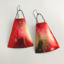 Load image into Gallery viewer, Fireworks on Red Upcycled Vintage Tin Long Fans Earrings