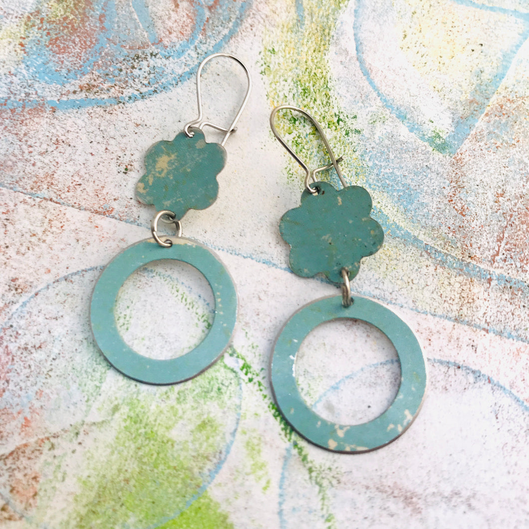 Soft Aqua Upcycled Flower and Ring Tin Earrings