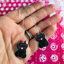 Load image into Gallery viewer, Little Lucky Cats in Black Upcycled Tin Earrings