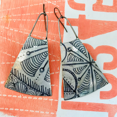 Ink Doodles Upcycled Tin Long Fans Earrings