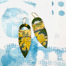 Load image into Gallery viewer, Blue Tipped Blossom Shield Zero Waste Earrings