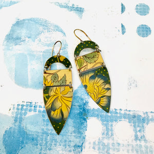 Blue Tipped Blossom Shield Zero Waste Earrings