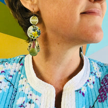 Load image into Gallery viewer, White & Sky Dots Zero Waste Tin Chandelier Earrings