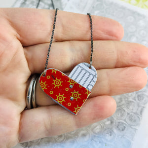 Deep Red & White Tin Folded Heart Reversible Necklace