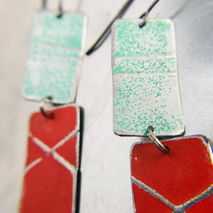 Rustic Matte Seafoam & Red Zero Waste Tin Earrings