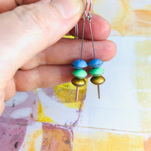 Load image into Gallery viewer, Cornflower, Fresh Pea, Gold Tiny Macarons Tin Earrings