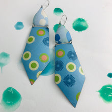 Load image into Gallery viewer, Mod Dots on Blue Upcycled Tin Earrings