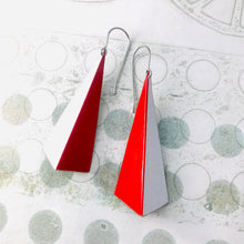 Load image into Gallery viewer, Red & White Long Pyramids Recycled Tin Earrings