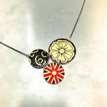 Load image into Gallery viewer, Mixed Black, Gold & Red Circles Upcycled Tin Necklace