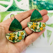 Load image into Gallery viewer, Paris Green Sailboats Upcycled Tin Earrings