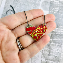 Load image into Gallery viewer, Mixed Deep Reds Folded Heart Reversible Tin Necklace