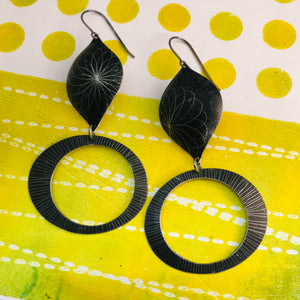 Retro Spirograph Ogee Zero Waste Tin Earrings