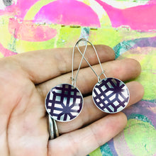 Load image into Gallery viewer, Purple Lattice on Silver Medium Basin Earrings