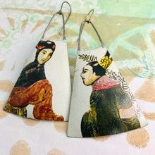 Load image into Gallery viewer, Tang Dynasty Upcycled Tin Long Fans Earrings