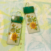 Load image into Gallery viewer, Vintage Flowers & Turquoise Recycled Tin Earrings 30th Birthday Gift