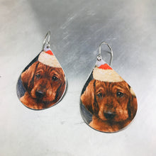 Load image into Gallery viewer, Xmas Puppies Upcycled Teardrop Tin Earrings