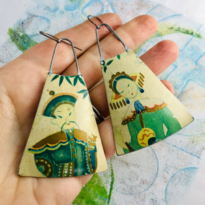 Japanese Couple Upcycled Tin Long Fans Earrings