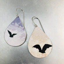 Load image into Gallery viewer, Halloween Bats Upcycled Teardrop Tin Earrings