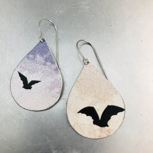 Halloween Bats Upcycled Teardrop Tin Earrings