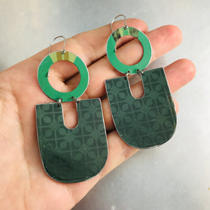 Shimmery Green Chunky Horseshoes Zero Waste Tin Earrings