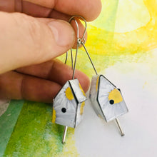 Load image into Gallery viewer, White Daisies Tiny Tin Birdhouse Earrings