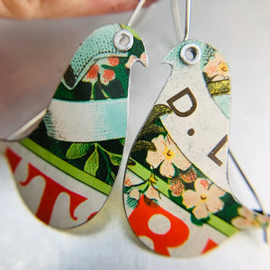 Green Biscotti Birds on a Wire Upcycled Tin Earrings