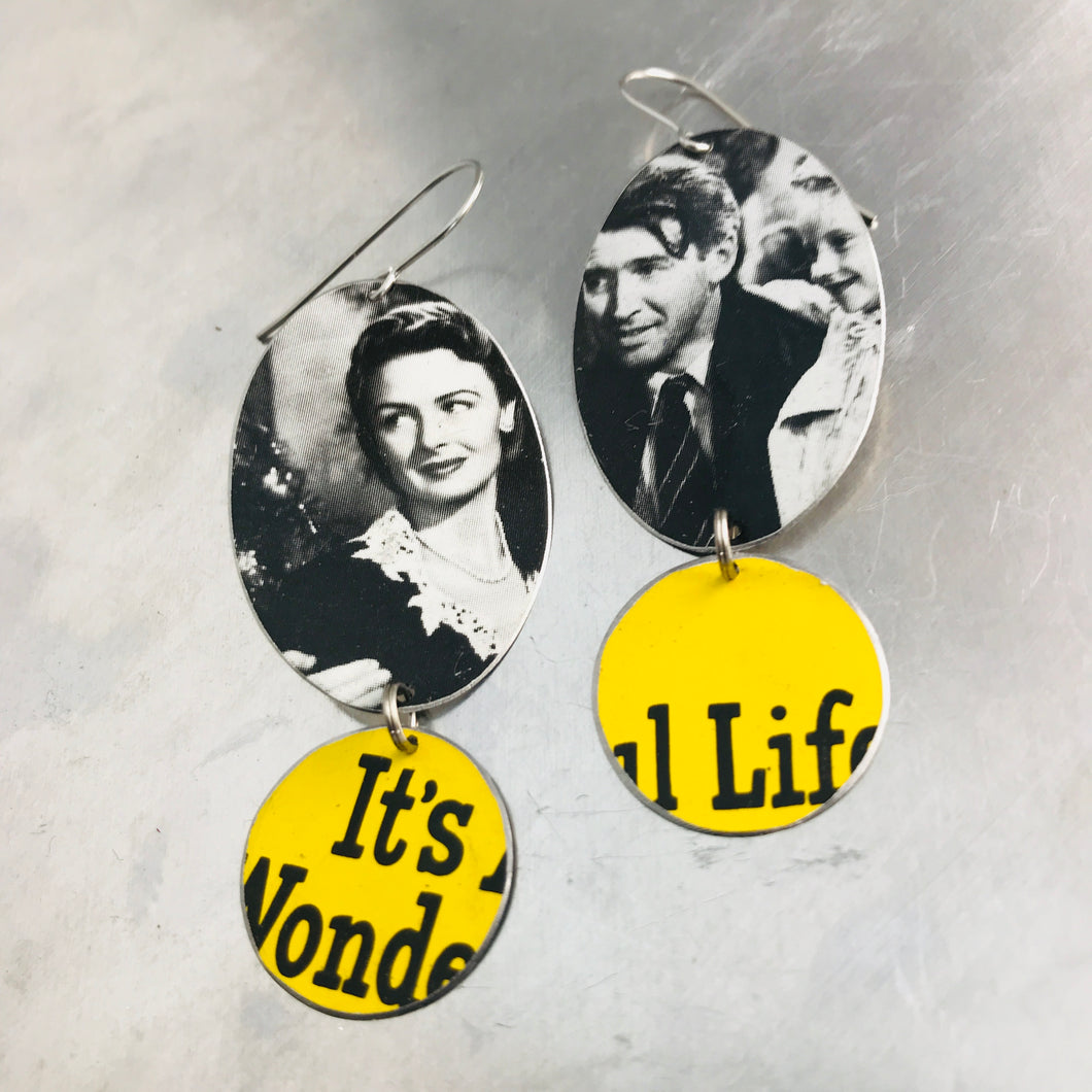RESERVED It's a Wonderful Life Upcycled Tin Earrings