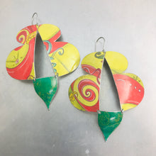 Load image into Gallery viewer, Abstract Yellow Red & Green Butterflies Upcycled Tin Earrings