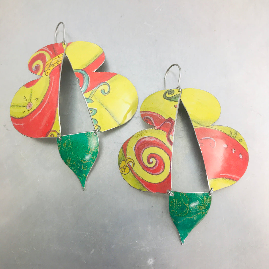 Abstract Yellow Red & Green Butterflies Upcycled Tin Earrings