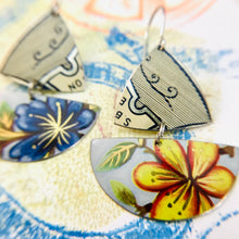 Load image into Gallery viewer, Blue & Yellow Flowers Little Sailboats Tin Earrings