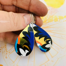 Load image into Gallery viewer, Blue Wave on Gold Upcycled Teardrop Tin Earrings