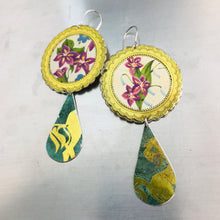 Load image into Gallery viewer, Vintage Violets & Verdigris Long Tin Teardrops Earrings
