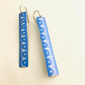 Cornflower and White Bunting Pattern Recycled Tin Earrings