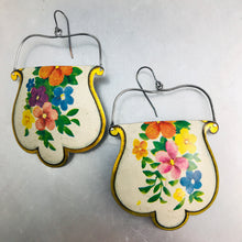 Load image into Gallery viewer, Vintage Flowers on White Rounded Shape Recycled Tin Earrings
